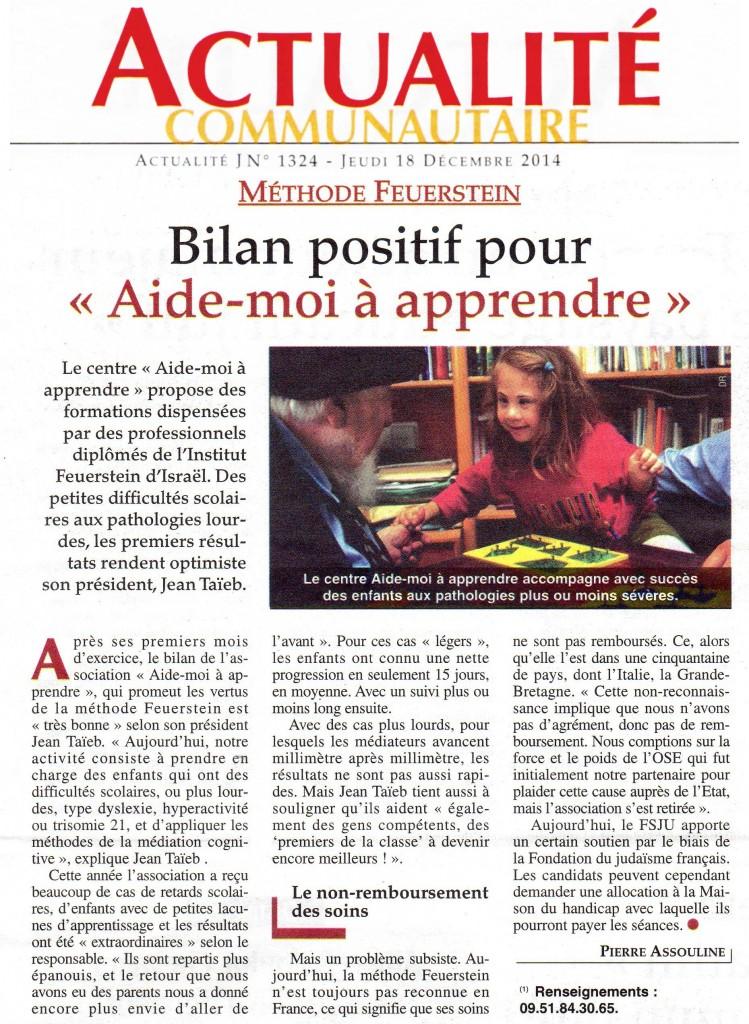 Article ActuJ 18 Decembre 2014 la méthode Feuerstein